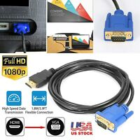 HDMI Gold Male To VGA HD-15 Male 15Pin Adapter Cable 5.9FT 1080P USA Stock!!!