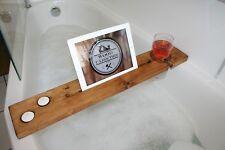 Bath Tray Bath Caddy Shower Organiser Wine Tablet Holder Dark Oak