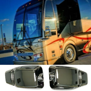 Replacement Chrome Mirror Covers for Prevost Buses/Coaches (Left and Right)