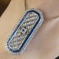 Antique Victorian Celtic Long Vintage Pendant 14K White Gold Over 3.58Ct Diamond