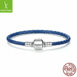 Authentic Blue Single Leather Woven Cord Charm Bracelet With 925 sterling silver