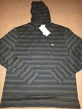 Brand New Men's Lacoste Navy Blue/Kelp Stripe Long Sleeve Hood Very Nice!!!