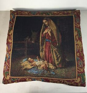 "Throw Pillow Nativity Tapestry Virgin Mary Baby Jesus Manger 16"" x 16"""