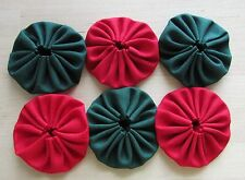 30  1 1/2 inch Fabric Yo Yos in red and forest green solid fabric
