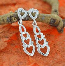 Hearts Post Dangle Earrings-Sterling Silver-Drop Heart Earrings,Fancy,Love,New