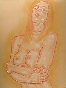 Original Nude Figure Drawing - ' Zoe '  Chalk & Pastel Drawing