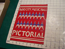 RADIO CITY MUSIC HALL, PICTORAL cover by De Ward Jones, early but no year
