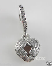 ANGEL WINGS Genuine PANDORA Pink FEATHERS LOCKET HEART Charm~Dangle 791737CZ NEW