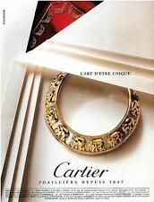 ▬► PUBLICITE ADVERTISING AD CARTIER Collier éléphant 1992