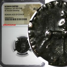 Roman Empire Gallienus AD 253-268 Double-Denarius Billon NGC AU AGE OF CHAOS