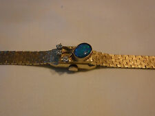 VINTAGE Geneva 14k GOLD AUSTRALIAN FIRE OPAL & DIAMOND WOMEN BRACELET WATCH