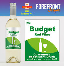 Personalised Supermarket Budget Wine Bottle Label, Funny, Spoof Birthday Gift