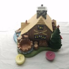 Gone Fishin' Log Cabin Party Lite Candle Holder Ceramic W/2 Tea Candles