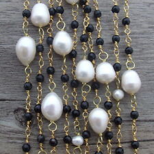 """19""""  5 Rows White Rice Pearl Necklace Black OnyxNecklace"""