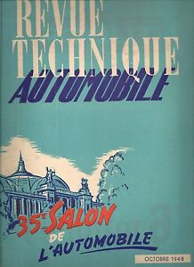 REVUE TECHNIQUE AUTOMOBILE 30 RTA 1948 SALON DE L'AUTOMOBILE 1948