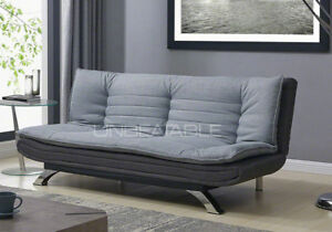 Fabric Sofabed 3 Seater Egg Grey Sofa Bed Modern Design Multi-Function Furniture
