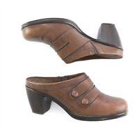 Dansko Brown Leather Strappy Mules Slip On Shoes Heels Womens 37 US 6.5 7