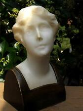 Bronze Marble Alabaster 18C German Female Bust Statue By M . SCHUMACHER