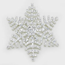 NEW Christmas Hoilday Large Snowflake Brooch Pin Made with Sparkling Crystals