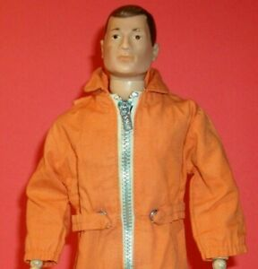 Vintage 1960s GI Joe Action Pilot Orange Flightsuit w/ Waist Tabs & White Zipper