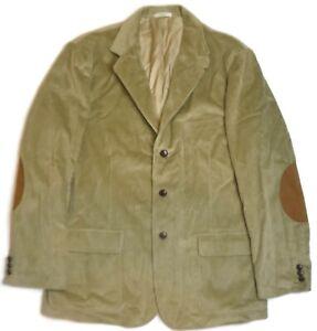 Orvis Corduroy Brown 3 Button Blazer Sport Jacket Suede Elbow Patches 46L New