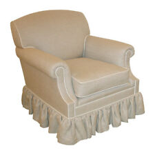George Smith - Small Laid back Scroll Arm Armchair with gathered Skirt detail