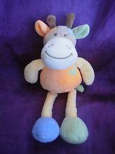doudou girafe vache orange jaune bleu vert feuilles 26cm TEX baby