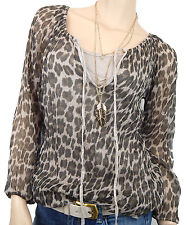 Bluse Leopard 40 42 Leo braun beige gold + Top Langarm animal Made in Italy