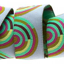 7/8 Inch Hypnotizer Tula Pink Chipper Ribbon  Renaissance Ribbons Woven Jacquard