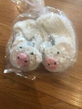 """Handmade Knitted Bootie Slip On shoes - Pigs 3-6 Months - Heel To Heel 4"""""""