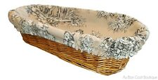 """LE CLUNY, VILLANDRY BEIGE, 16"""" FRENCH BREAD / ROLL BASKET w/ REMOVABLE LINER"""