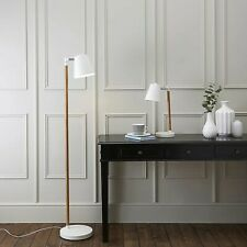 Set of matching floor lamp and table lamp MATT WHITE METAL WOOD effect
