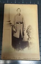 Cabinet card 1860s Southern soldier holding 1850 officer's sword
