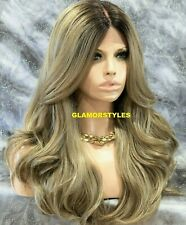 HUMAN HAIR BLEND LACE FRONT FULL WIG LONG WAVY LAYERED OMBRE BROWN ASH BLONDE