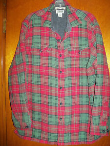 L.L. Bean Men's Fleece Lined Flannel Shirt Full Button Front Regular Fit Large