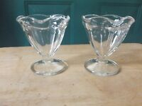 Two Indiana Clear Glass Footed Sundae Ice Cream Glasses