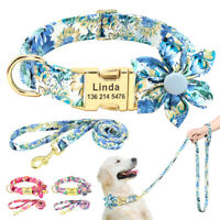 Personalized Dog Collar Flower Decorated Laser Engraved ID Name Adjustable S/M/L