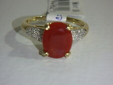 14K YELLOW GOLD RED FIRE OPAL & DIAMOND RING NEW SIZE 7