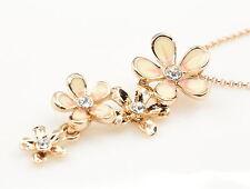 unique crystal cream enamel flowers pendant girl fashion necklace jewelry S52
