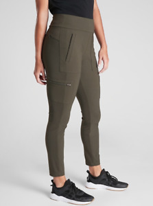 ATHLETA Headlands Hybrid Cargo Tight 2 (XS) Peat Green | Hiking Trail Pants
