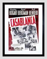 MOVIE FILM CASABLANCA BOGART BERGMAN ROMANCE WAR DRAMA FRAMED ART PRINT B12X5460