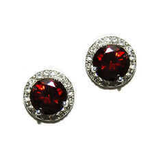 Rhodium Stud Earrings 11Mm Round Halo Clear+Red Cubic Zirconia
