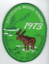 1973 ONTARIO MNR MOOSE HUNTER PATCH-MICHIGAN DNR DEER-BEAR-CREST-BADGE-ELK-FISH