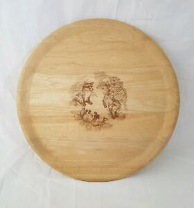 ❀ڿڰۣ❀ T&G WOODWARE Engraved WOODLAND FOX CUB DESIGN Wooden SPINNING SUSAN TRAY