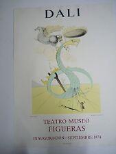 Lithograph Poster Salvador Dali Exhibition 1974 Teatro Museo FIGUERAS, 73x52cm H