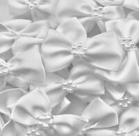 Pack of 10 - WHITE 3.5cm Satin Ready Made Mini Ribbon and Pearl Craft Bows