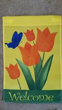 spring garden flag, tulips and butterfly , new