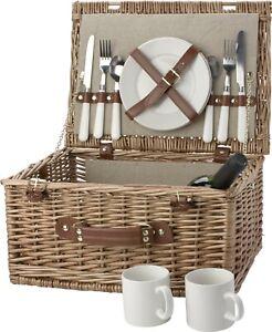 Cestino da picnic in vimini per 2 persone con posate in acciaio inox, due piatti