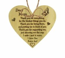 Mum I Love You Everyday Oak Wooden Hanging Heart Mothers Day Gift Cute Mums Sign