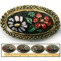 XL 42mm Vintage Czech Glass Victorian Flower Garden Black w/Red OVAL Buttons 4pc